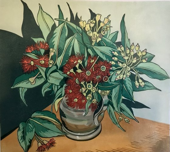 Red flowering gums in a peuter jug