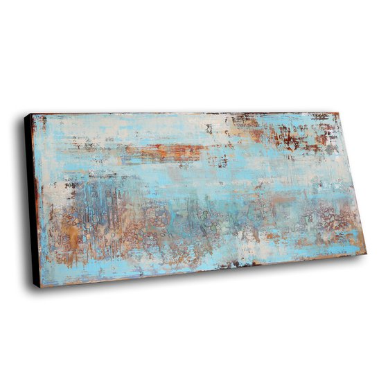 MISTY MOOD - ABSTRACT ACRYLIC PAINTING ON CANVAS * LARGE FORMAT * PASTEL COLORS