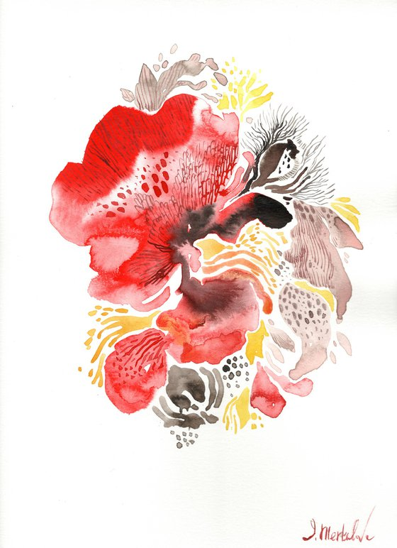 Floral Abstraction Delicate Poppies