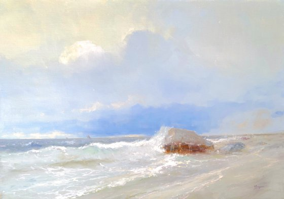 Ocean Cliff, Original oil Painting, Handmade artwork, Signed, One of a Kind