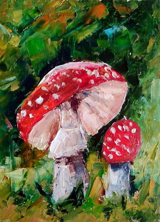 Mushrooms Painting Original Art Fly Agaric Artwork Mushroom Still Life Wall Art