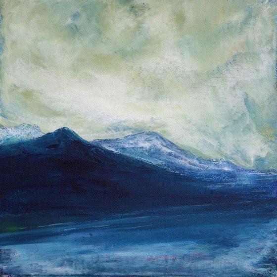 A 'mhaighdeann, Scottish winter mountain landscape snow scene