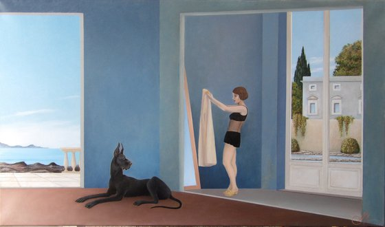 Sea house interior with great dane and girl