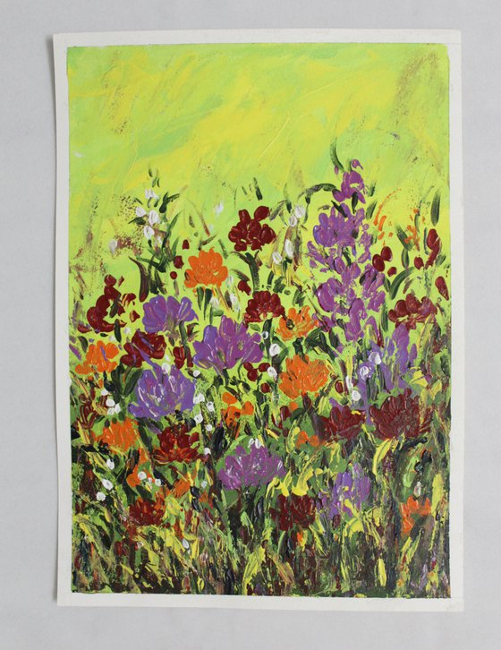 Rejuvenate - Floral Meadow - Wild flowers - Palette Knife Acrylic Painting on A3 Size