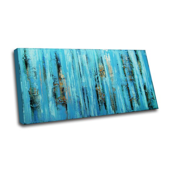 """NIAGARA * 63"""" x 31.5"""" * TEXTURED ACRYLIC PAINTING ON CANVAS * TURQUOISE GOLD"""