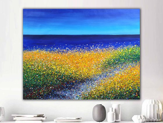 "Seaside Painting, Seascape, Dunes, Landscape, Ocean, Beach  - ROLLED - 39"" x 53""/ 95 x 120 cm. Abstract seascape Dunes"