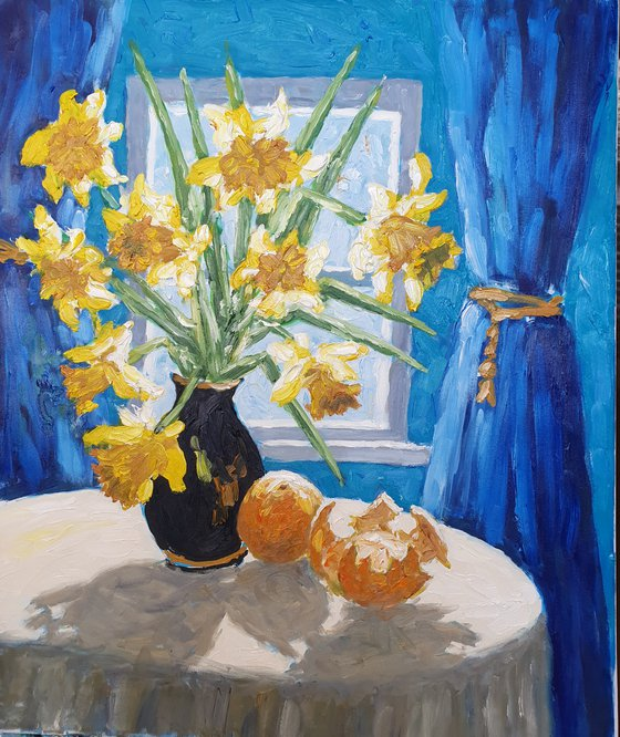 Daffodils  by the  window,  backlit