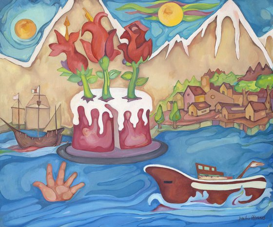 The cake, the hand and the sea