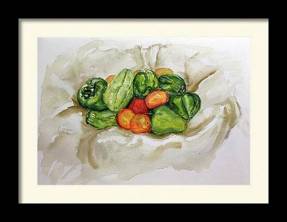 Still life with vegetable basket watercolor alla-prima painting  28