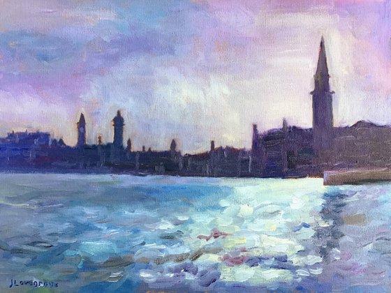 Evening Light, Venice - an original oil painting by Julian Lovegrove