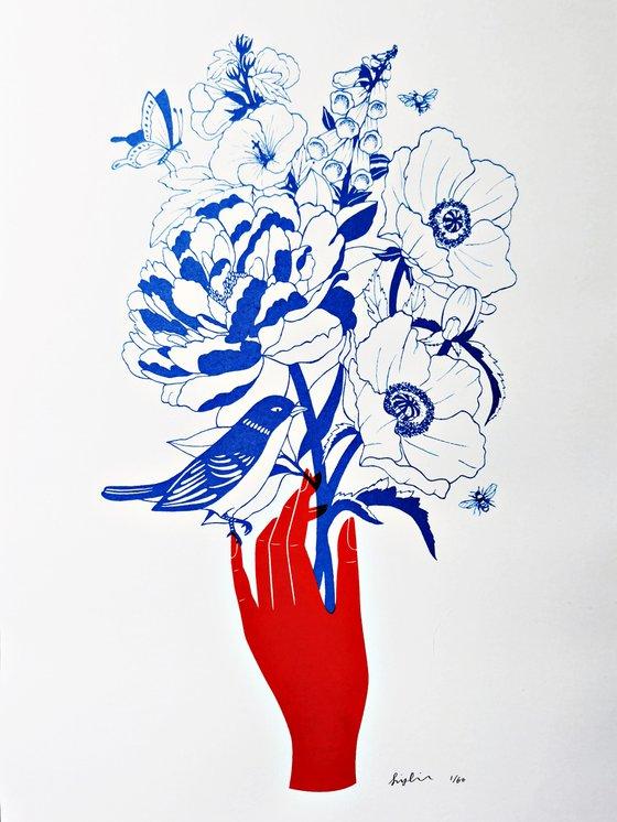 Summer in Bloom - A3 Silkscreen Botanical Art Print, Garden Botanical Poster