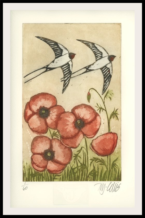 Swallows and Poppies, aquatint etching