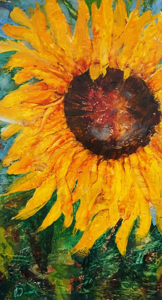 Sunflower  (hot wax on OSB)