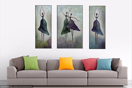 Ballerinas(30x80 50x80 30x80cm, mixed media painting)
