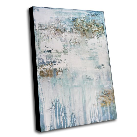 A WINTERS TALE - 120 X 80 CMS - ABSTRACT ACRYLIC PAINTING ON CANVAS * LIGHT BLUE * WHITE