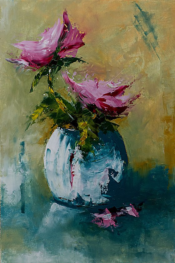 Red roses in vase. Still life painting