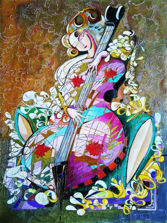 Cellist(60x80cm, oil painting, modern art)