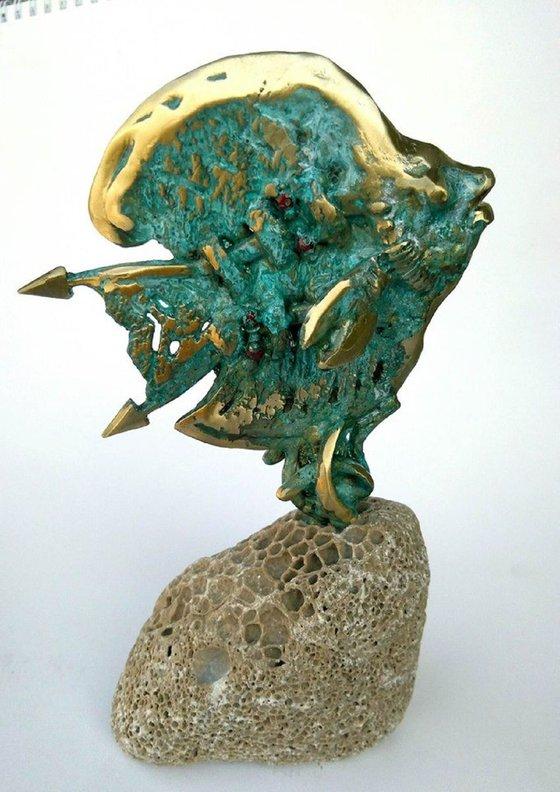 Bronze Fish Sculpture Home Office Decor