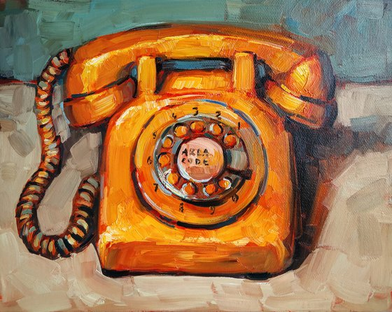 Retro pictures series -4  Old Phone Orange(24x30cm, oil painting, ready to hang)
