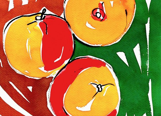Apples - watercolor framed