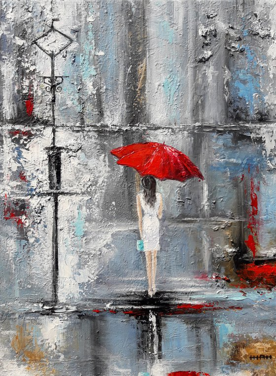 Red umbrella(30x40cm, oil painting, ready to hang)