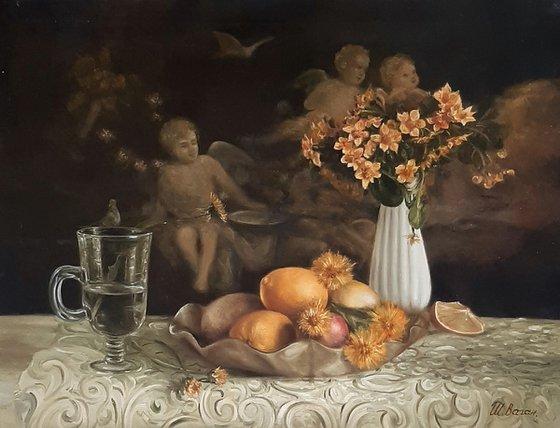 Натюрморт с вазой и цветами