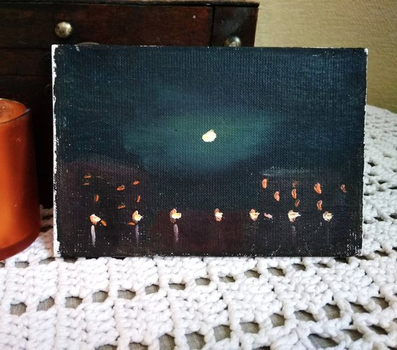 Moonlight night over the city. Plein Air Painting