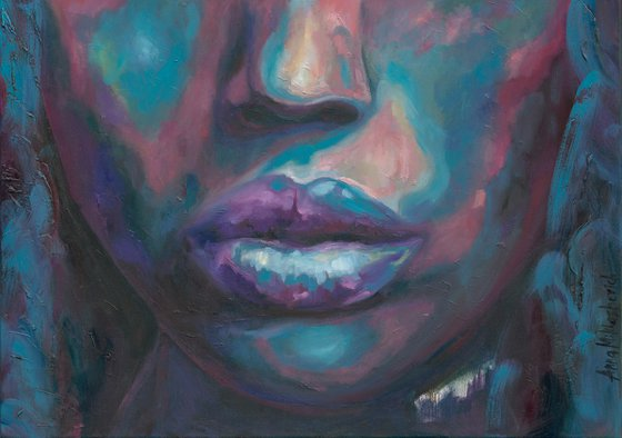 INFINITE - Contemporary African American art, Colorful black woman artwork, Modern fine art portrait, Turquoise teal purple painting for living room