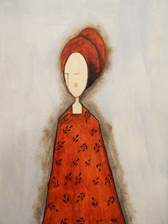 The Lady in red - oil on paper