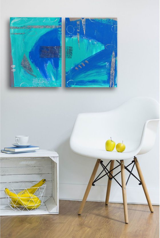 Blue abstract  (Diptych )