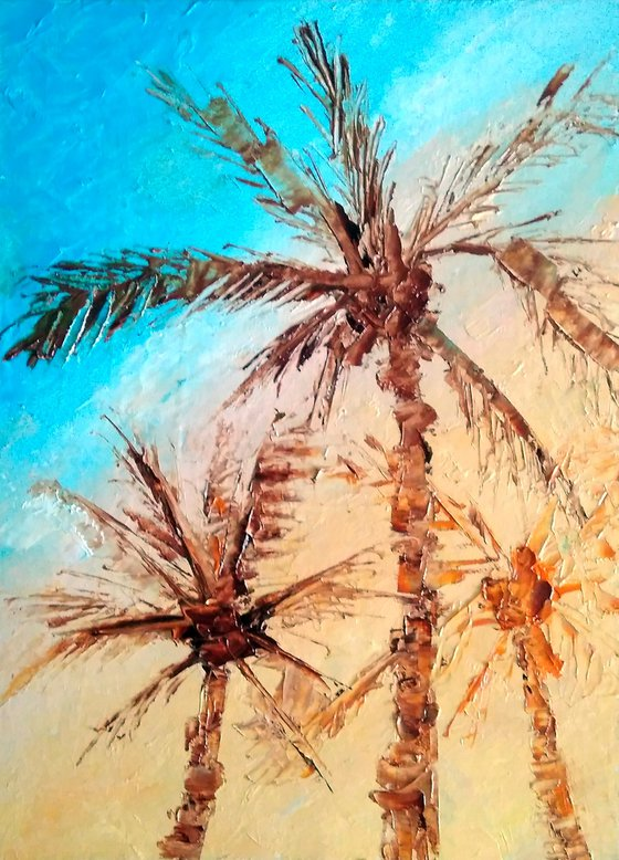 Palm Tree Painting California Original Art Laguna Beach Wall Art Small Artwork