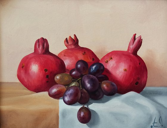 Still life with pomegranate and grapes (40x50cm, oil painting, ready to hang)