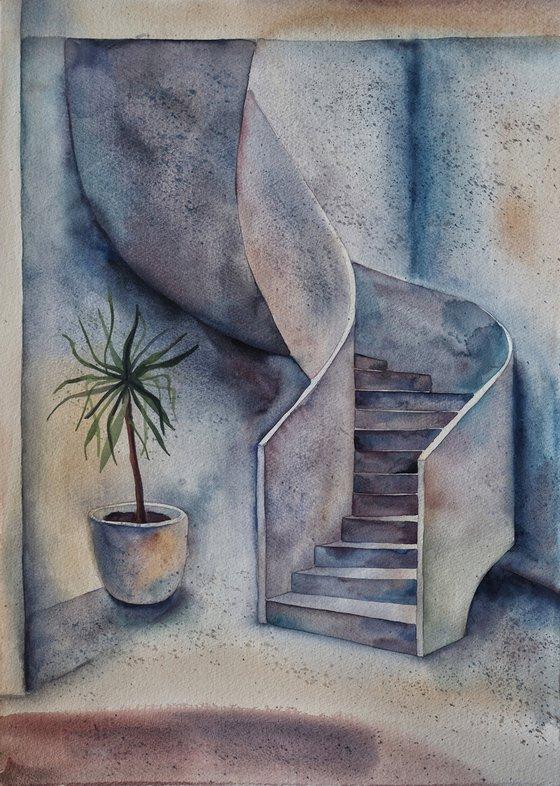 White interior with spiral staircase - original watercolor artwork