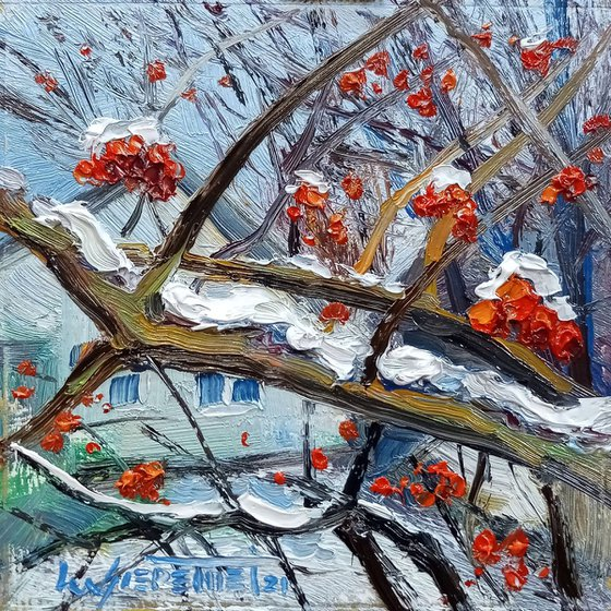 Rowan Tree Red Berries in Winter Original Oil Painting, Small Impressionist Artwork on Wood Panel, Ready to Hang, Winter Landscape Scenery, Miniature Oil Art