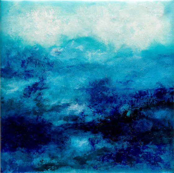 Blue abstract water landscape n°2 - Wall art Abstraction Home decor Oil painting