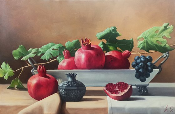 Still life with pomegranate (40x60cm, oil painting, ready to hang)