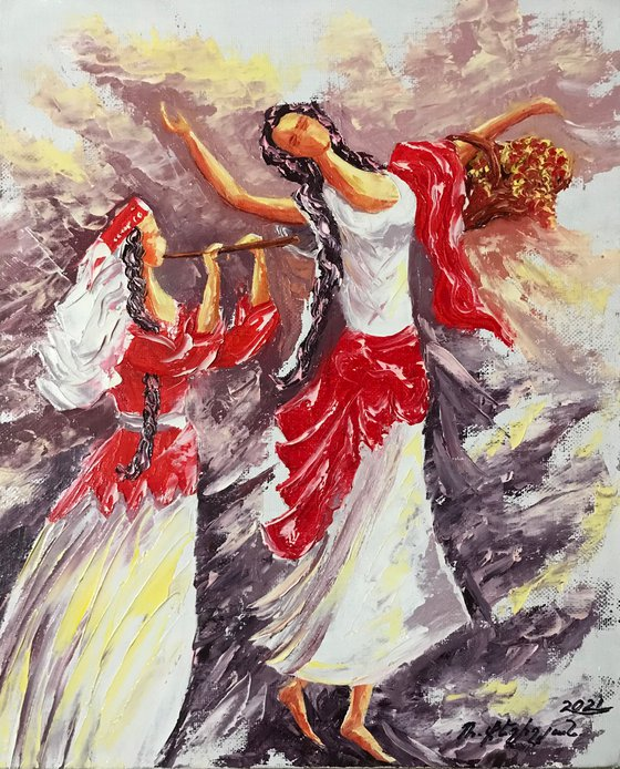 Music and dance 50x40cm, oil painting, ready to hang