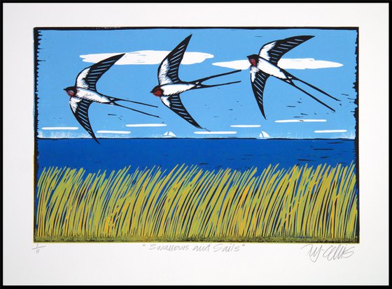 Swallows and Sails, linocut reduction