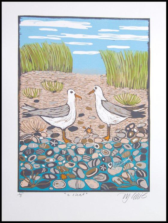 a Chat, Seagulls linocut