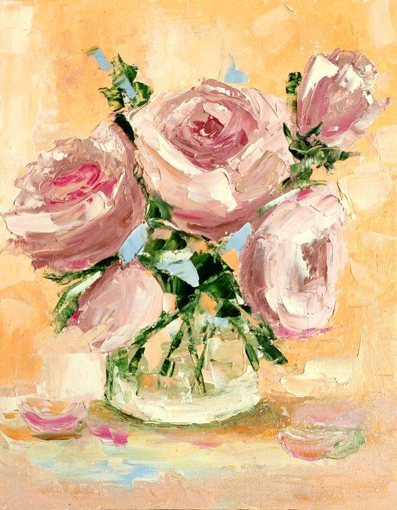 Floral Rose Painting Original Art Flower Artwork Small Oil Wall Art