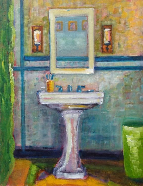 Bondi Bathroom Oil Painting By Maureen Finck Artfinder