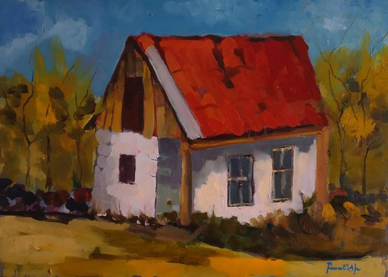Abandoned house (70x50cm, oil painting, ready to hang)
