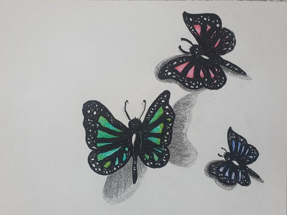 Three Butterflies Acrylic and Pen on A4 Paper Beautiful Painting Gift Ideas