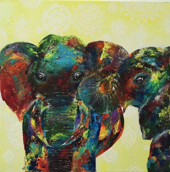 Brotherhood(Elephant Painting) Acrylic on Canvas, Ready to Hang