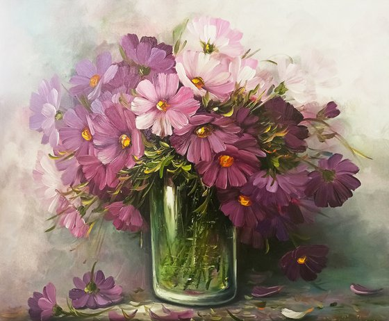 Purple flowers (60x70cm, oil painting, ready to hang)