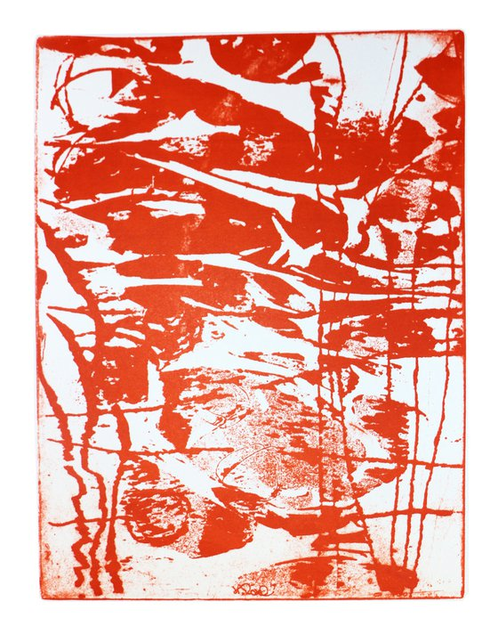 """Heike Roesel """"Journey orange to red"""" fine art plate lithograph, monotype in a series of 6"""