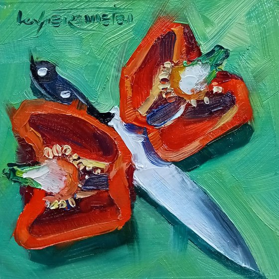 Red Sweet Pepper Original Oil Painting on Wood Panel, Ready to Hang, Paprika Kitchen Still Life Art, Small Oil Paining Gift, Vegetable Painting, Small Impressionist Daily Painting