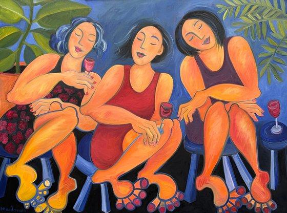 Three Sisters At a Wine Bar