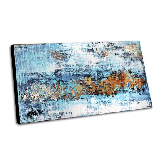 BLUE HORIZON - 180 x 100 CMS - ABSTRACT PAINTING - TEXTURED - LARGE FORMAT - BLUE GOLD