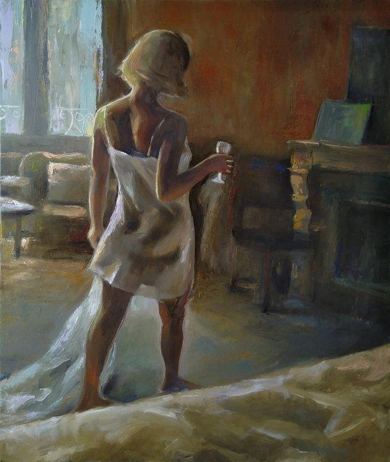 Tender morning 50x60cm ,oil/canvas, impressionistic figure
